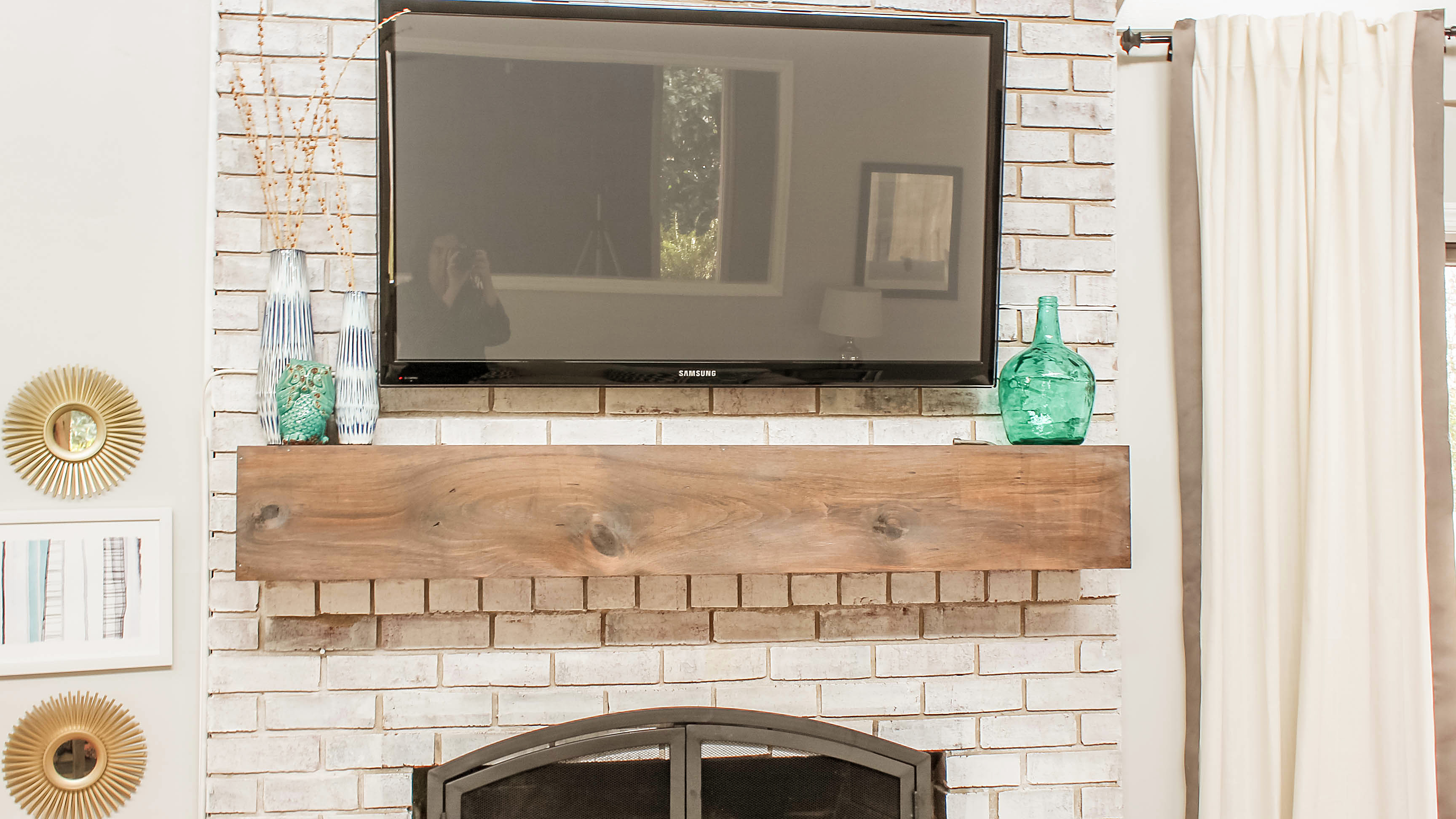 Fantastic How To Mount A Tv Over A Brick Fireplace And Hide The Wires Interior Design Ideas Ghosoteloinfo