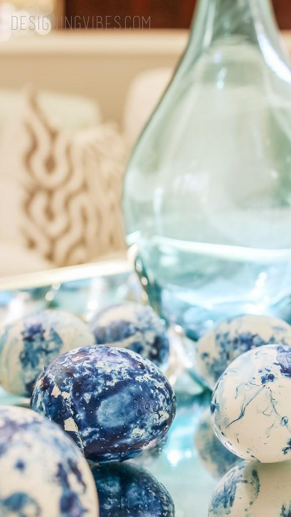 blue marble easter eggs diy