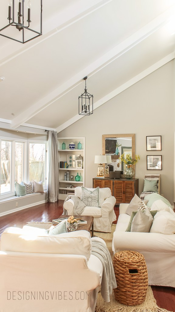 light gray living room with white couch