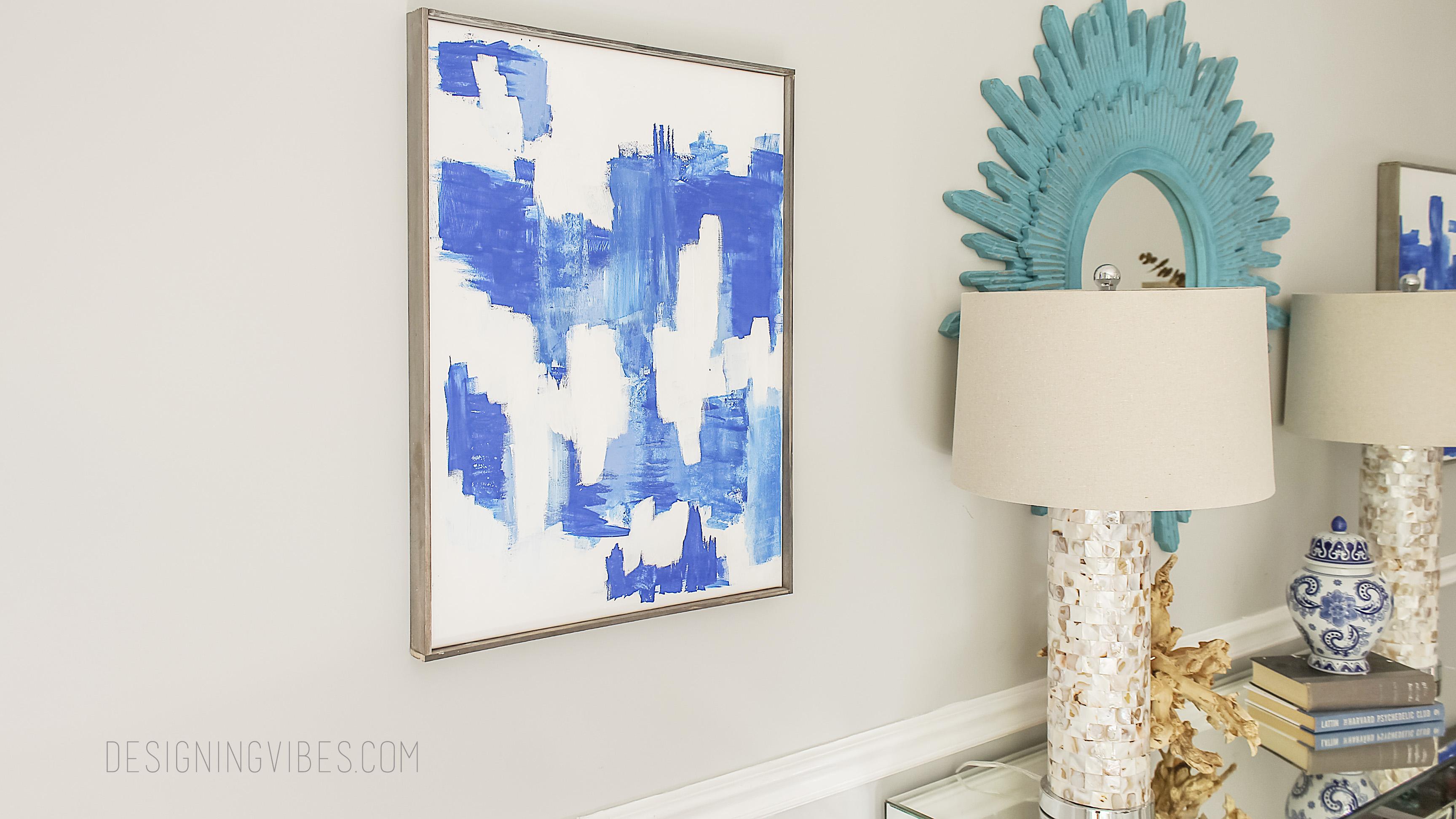 Blue Canvas Art Diy: Indigo Abstract Art