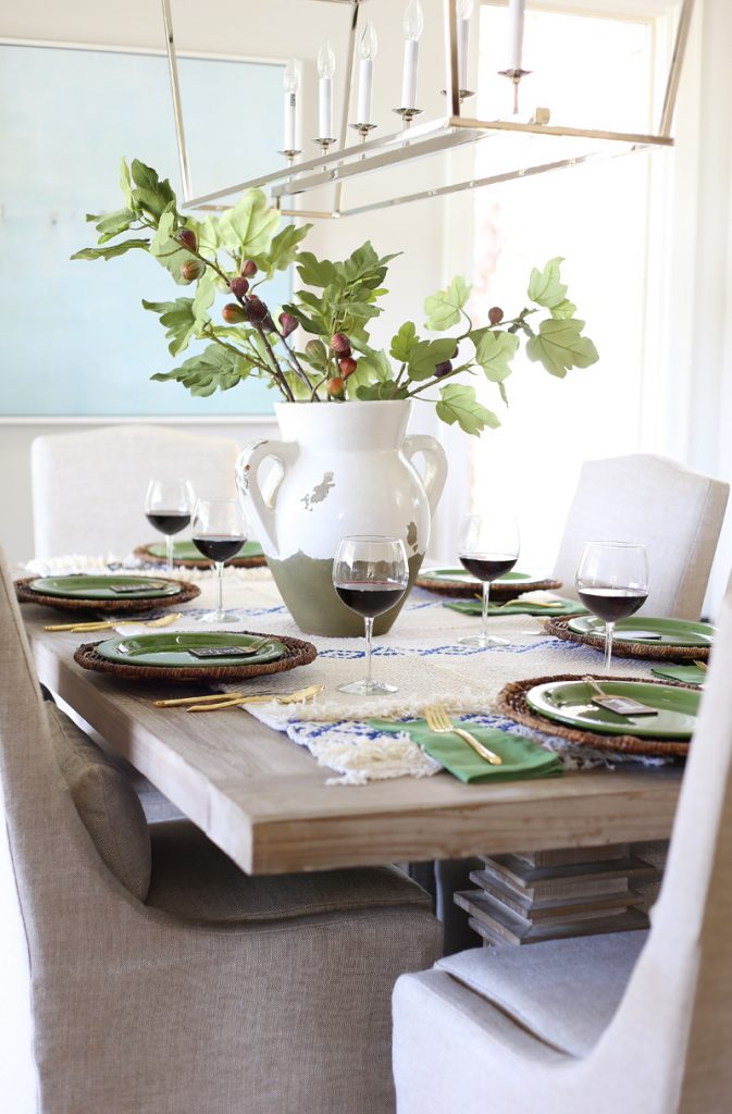 blue and green thanksgiving table