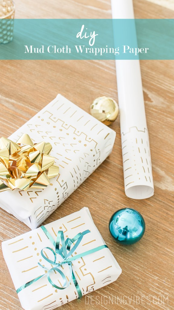 mud cloth wrapping paper diy