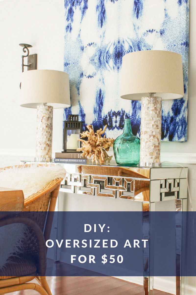 DIY Large Wall Art for Cheap- Indigo Abstract Canvas Art