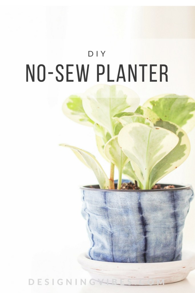 no-sew fabric shibori planter diy