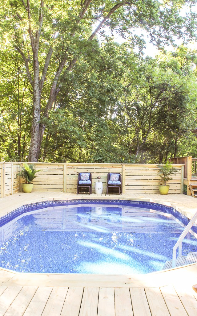 How to make an above ground pool look inground pool deck for In ground pool deck ideas