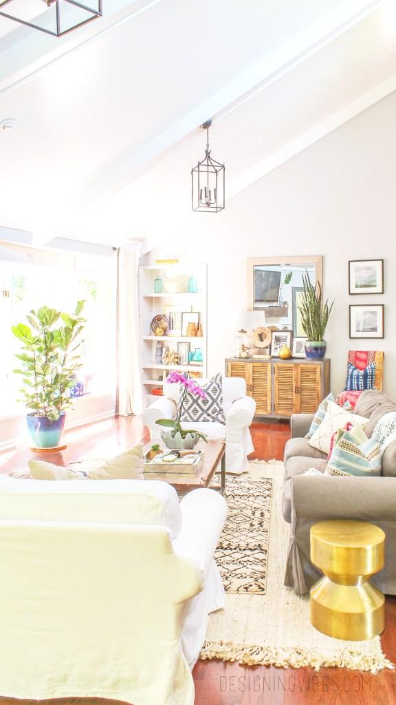 boho glam living room pink and blue