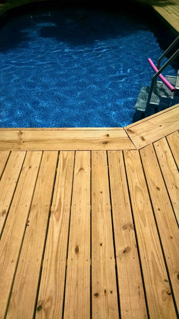 above ground pool deck border ideas