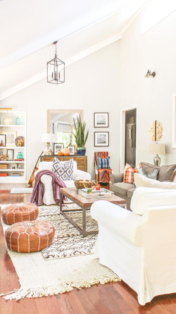 Boho Chic Fall Home Tour and Decor Tips - Fall Decor ... on Bohemian Living Room Decor Ideas  id=54732