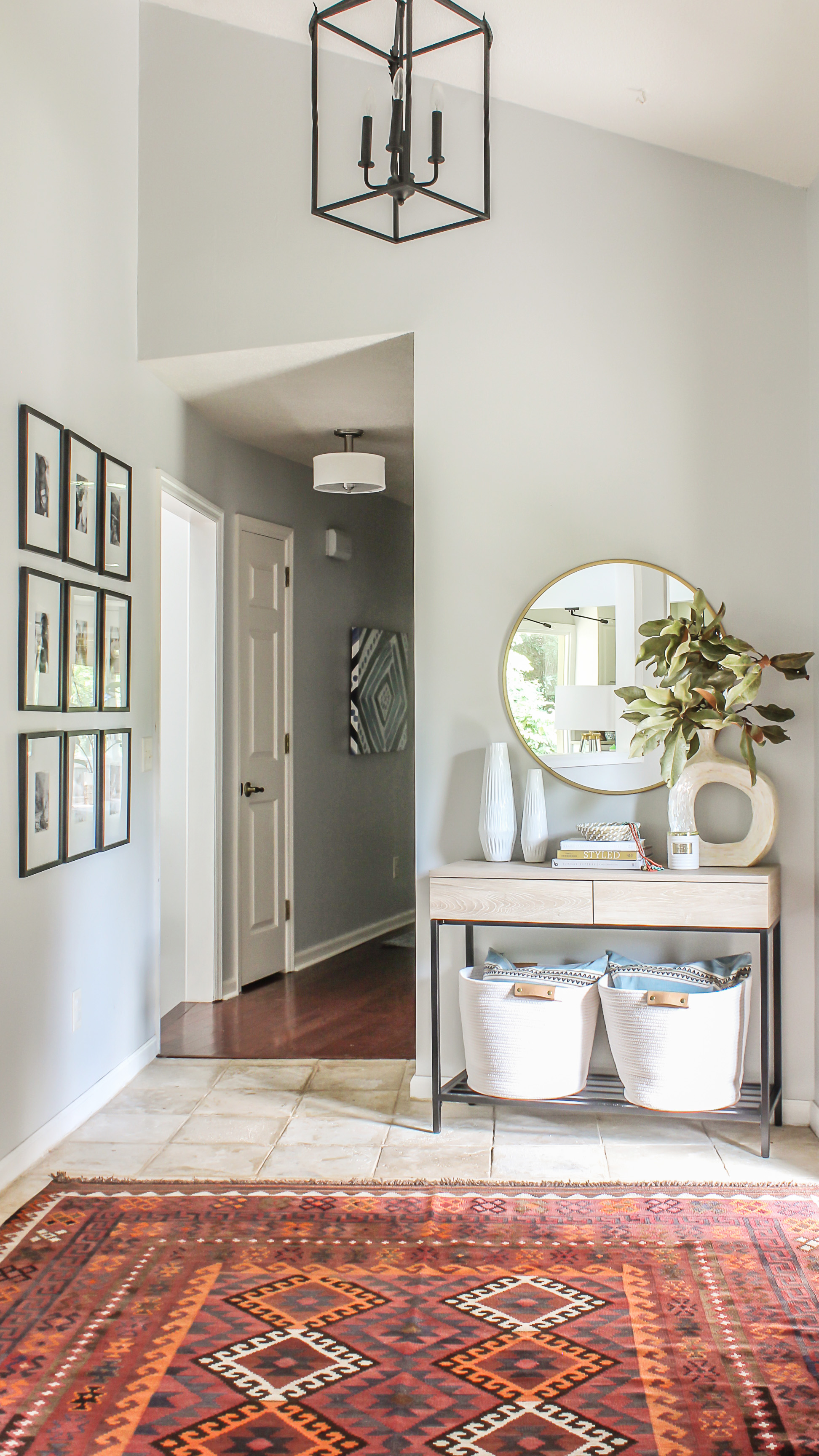 Modern Farmhouse Meets Boho Foyer Makeover