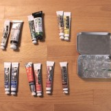 Choose your favorite tube paint colours. You don't need much, a little goes a long way.