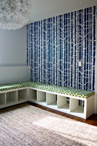 3. Cheerful playroom seating by I Heart Organizing