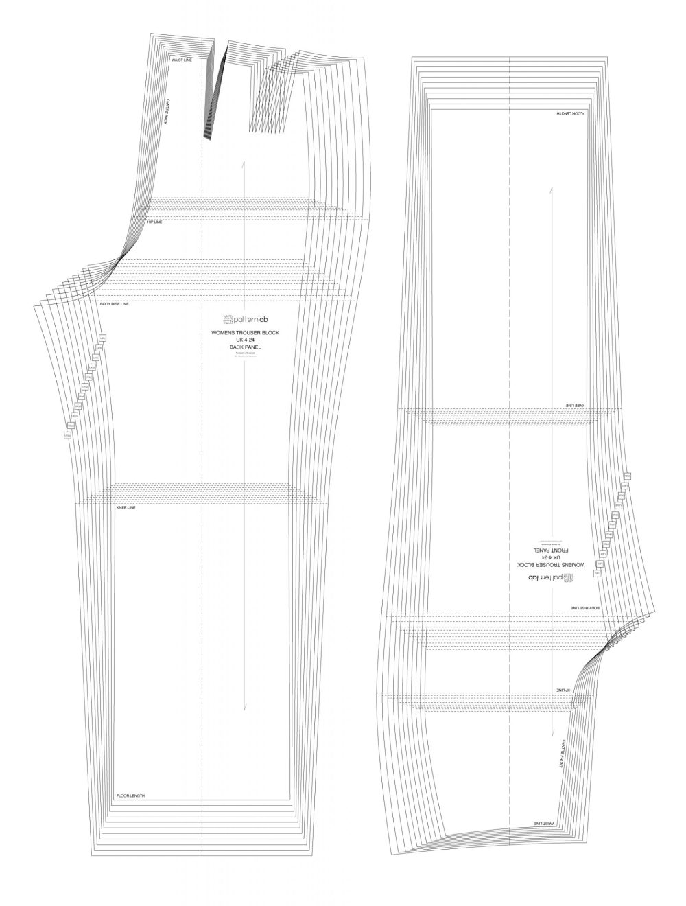 basic high waist trouser block - relaxed fit. patternlab.london