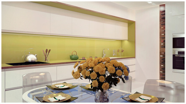 minimalist-kitchen-design-yellow-accent-wall
