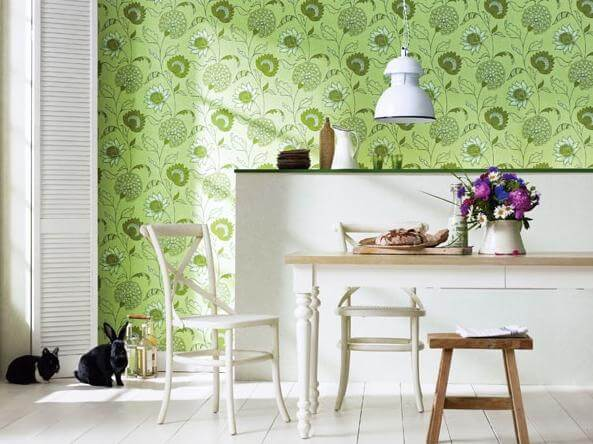 green-floral-motifs-wallpaper-kitchen