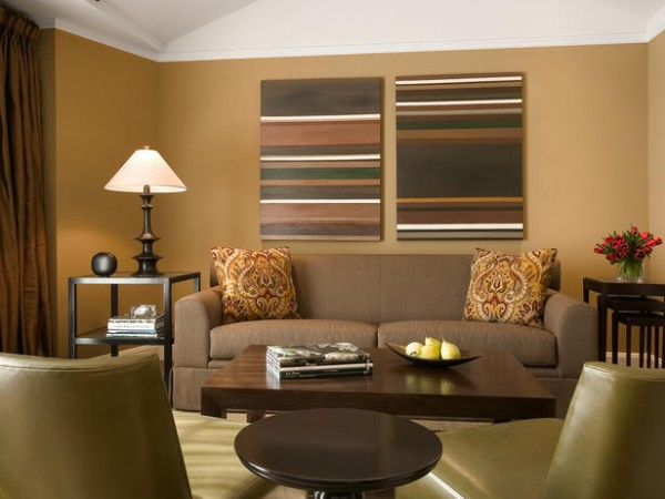 living-room-with-brown-paint-tones
