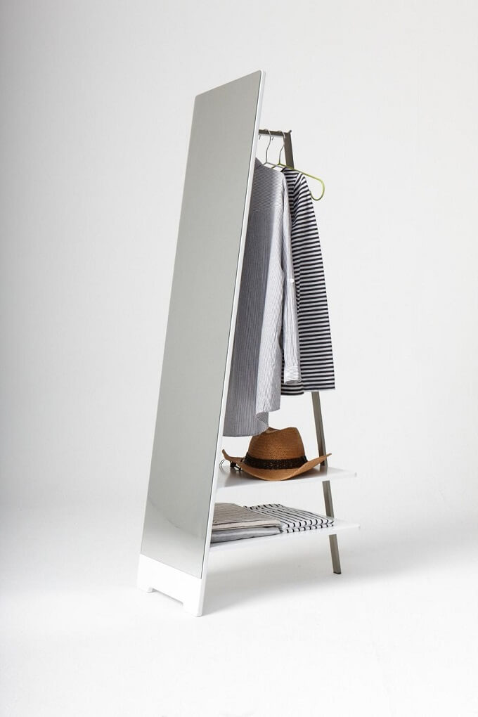 interesting bedroom mirrors | Interesting Clothes Hanger with Floor Mirror for Bedroom ...