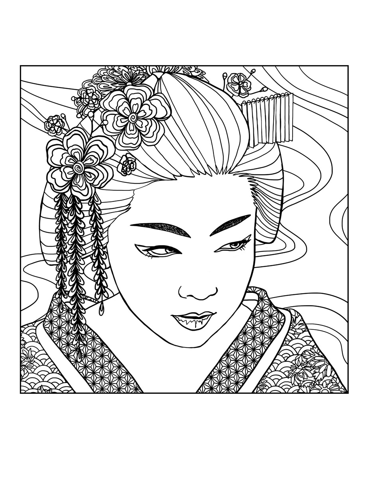 Geisha Coloring Download Geisha Coloring For Free