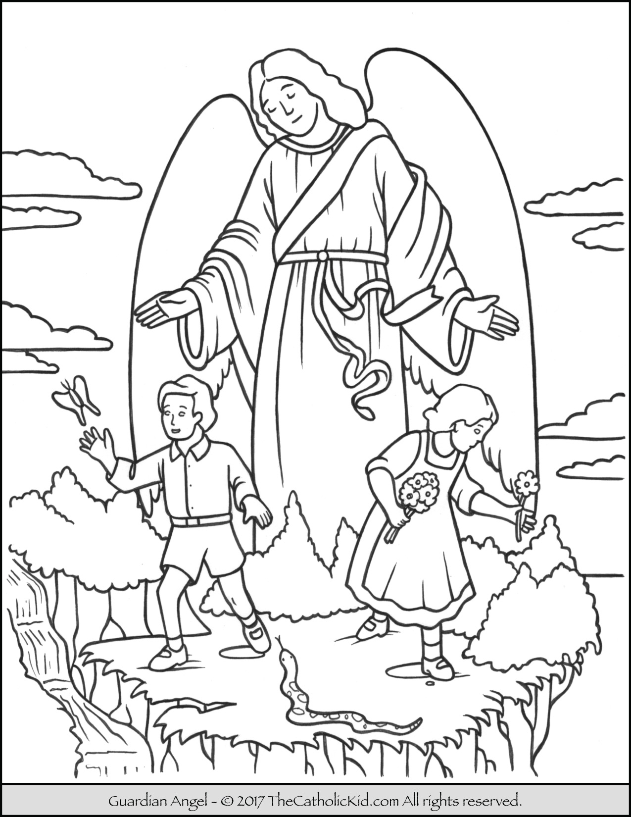 Download Guardian Angel Coloring For Free