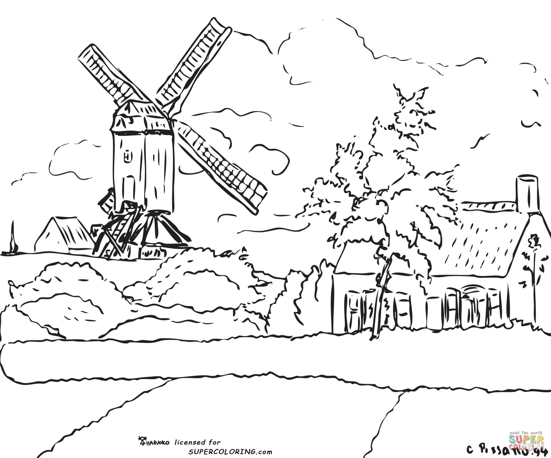 Windmill Coloring Download Windmill Coloring