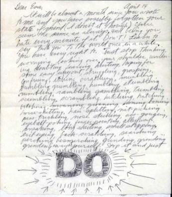 Design Luminy Sol-LeWitt-Eva-Hesse-Letter-Page-1 Lettre de Sol Lewitt à EvaHesse – 14Avril1965 Histoire du design Références Textes  Sol Lewitt Eva Hesse