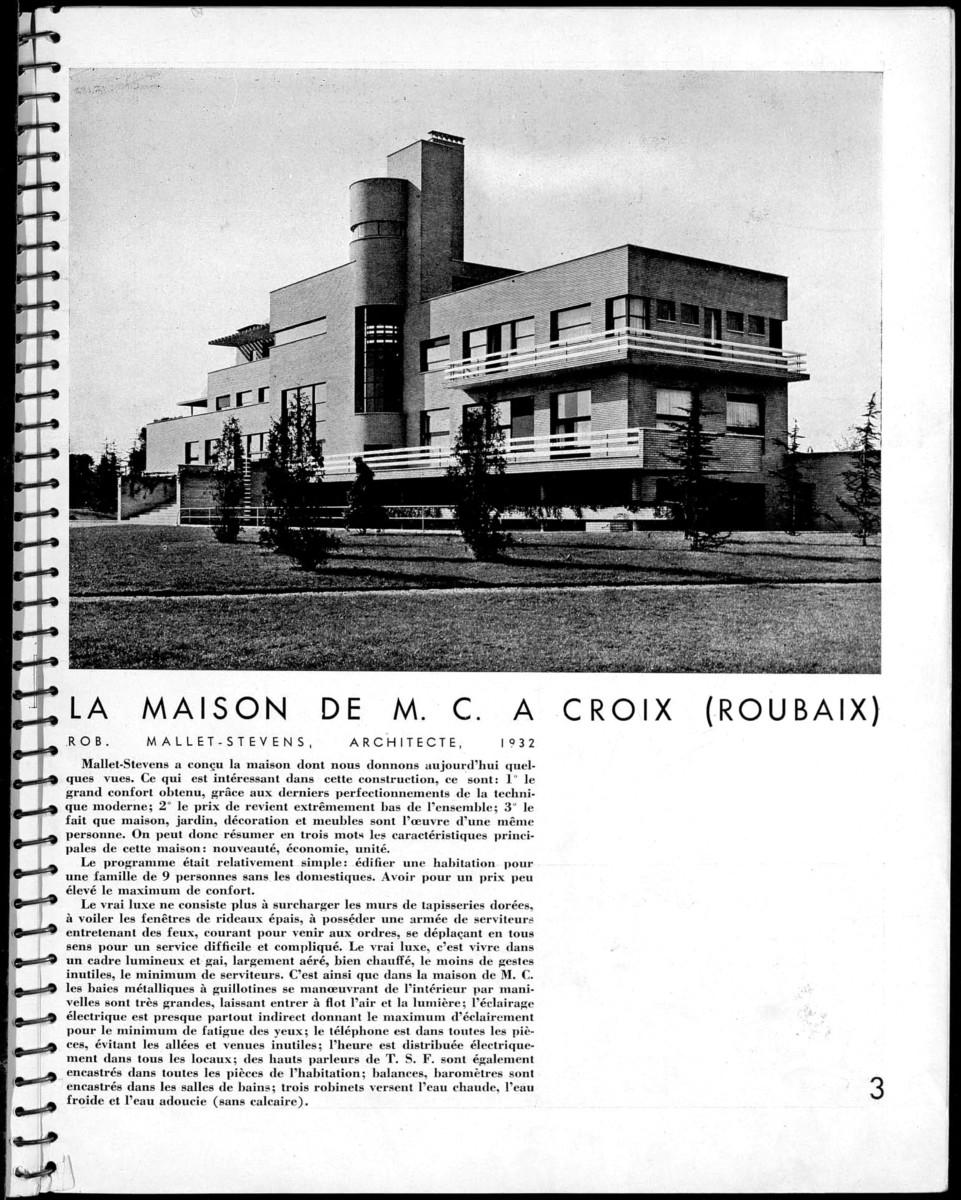 Design Luminy AA-1932-Villa-Cavroix-1 Robert Mallet-Stevens – La Villa Cavrois, Architecture d'Aujourd'hui, N° 8, nov 1932 Histoire du design Icônes Références Textes  Robert Mallet-Stevens