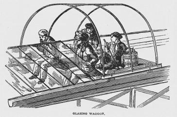 Design Luminy crystal-palace-hyde-park-glazing-wagon Crystal Palace 1851 - Joseph Paxton (1803-1865) Histoire du design Icônes Références  Owen Jones Joseph Paxton Henry Cole Exposition universelle Crystal Palace