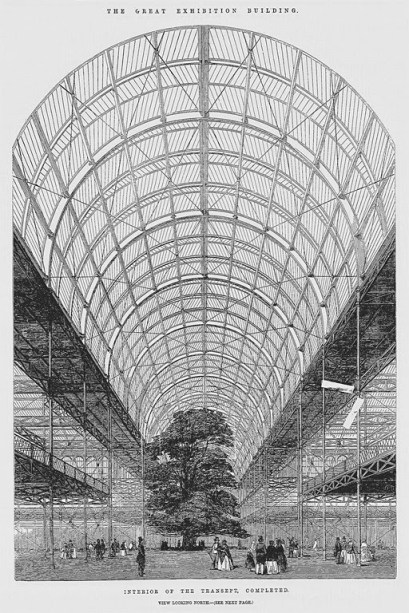 Design Luminy crystal-palace-hyde-park-london-under-construction Crystal Palace 1851 - Joseph Paxton (1803-1865) Histoire du design Icônes Références  Owen Jones Joseph Paxton Henry Cole Exposition universelle Crystal Palace