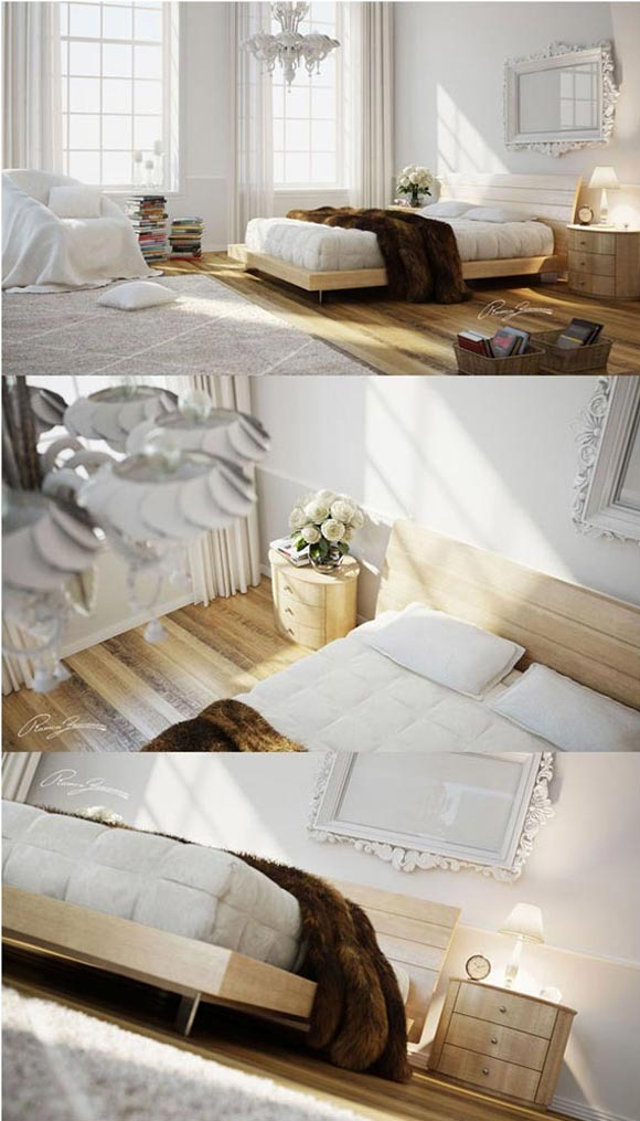 Bed Room White and wood