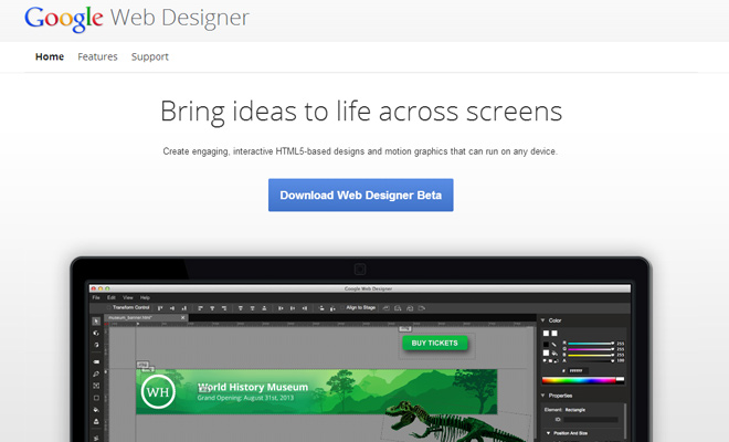 free software program homepage google webdesigner