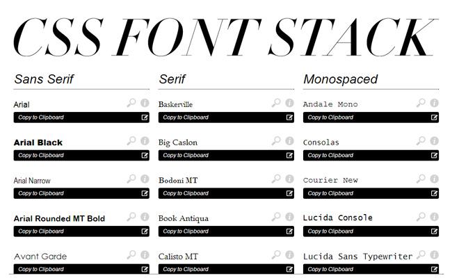 css css3 webfont font stacks homepage webapp