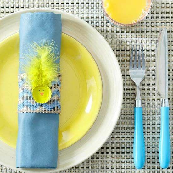 decoration assiette bleu jaune
