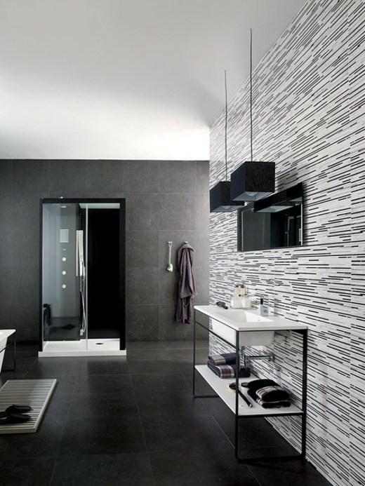 salle de bain noir et blanc de l