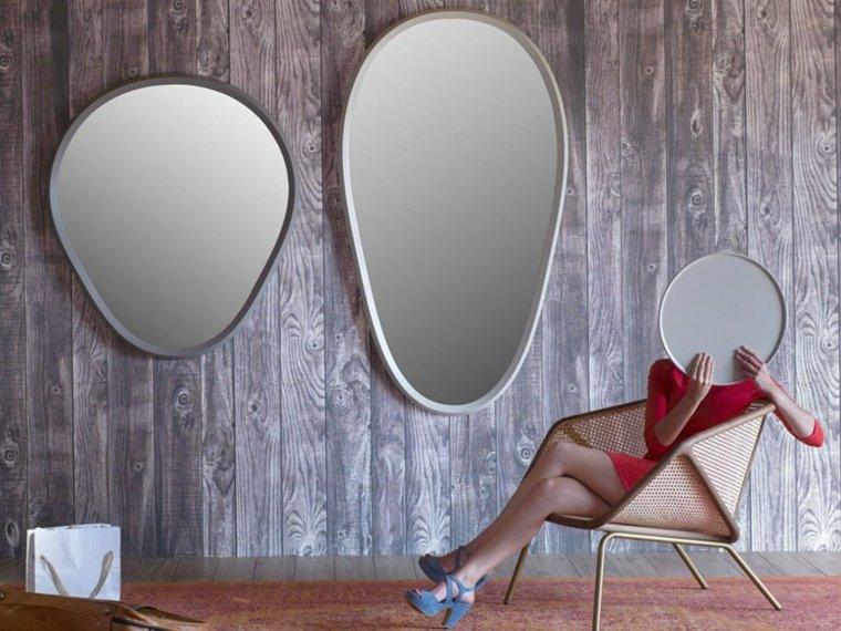 miroir mural design avec cadre rond moderne designer paolo cappello