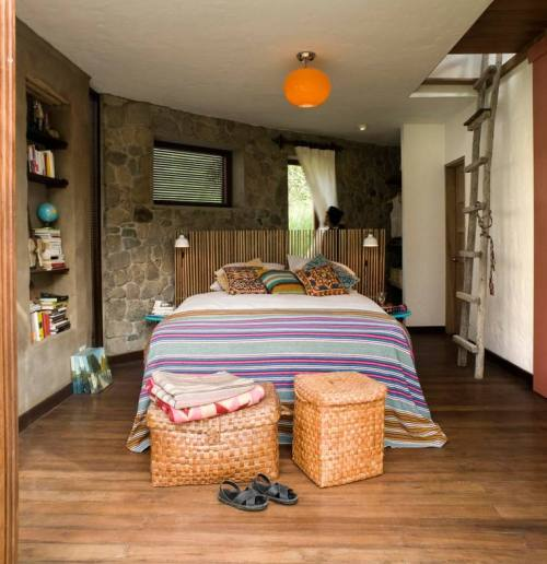 matériaux verts chambre à coucher idée aménagement tabouret maison écolo