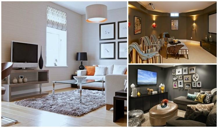 petit salon avec tele de style moderne