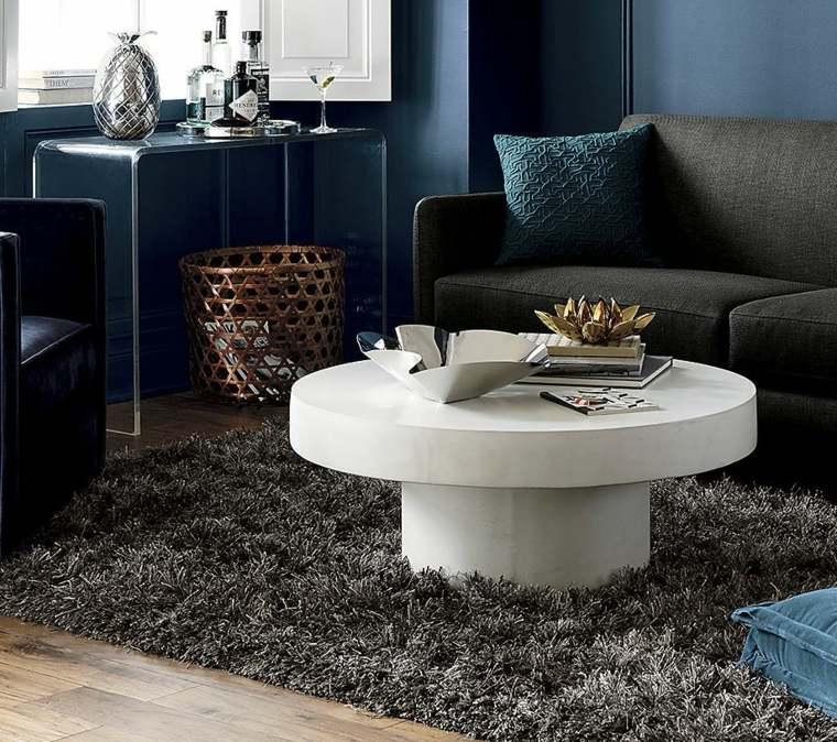 table basse en pierre blanche design tapis de sol noir canape salon
