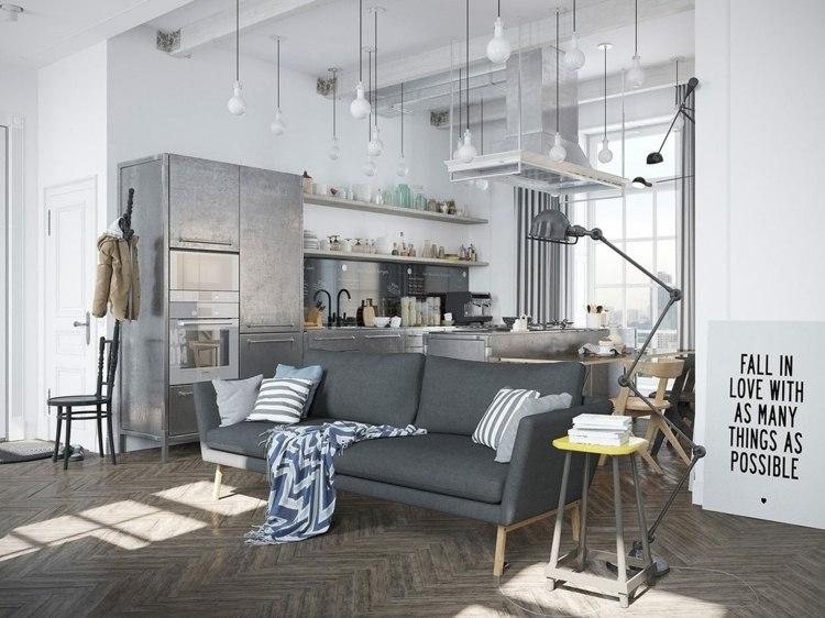 cuisine scandinave de deco originale avec des meubles couleur inox inspiration cuisine deco inox
