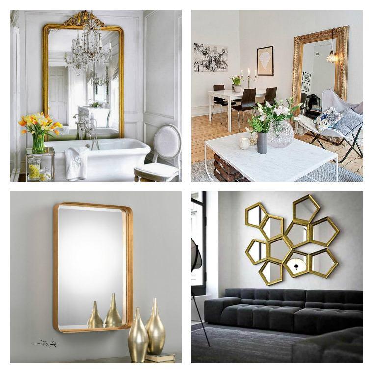 photo deco mur grand miroir dore