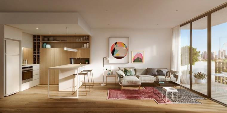meuble separation cuisine salon idee interieur design moderne decoration murale tableau