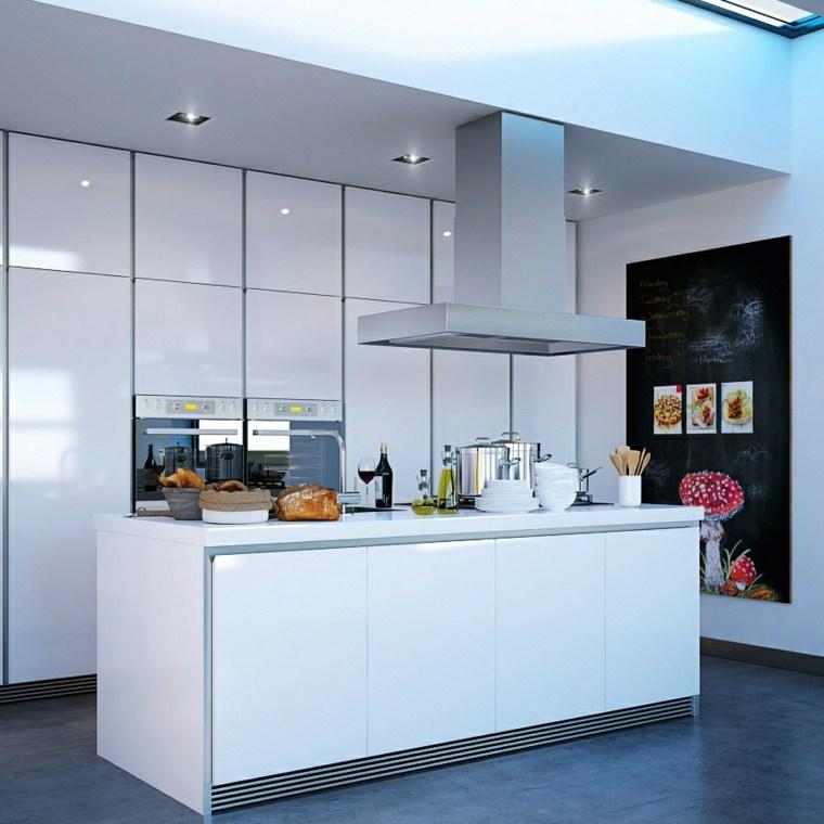central cuisine blanc de design moderne