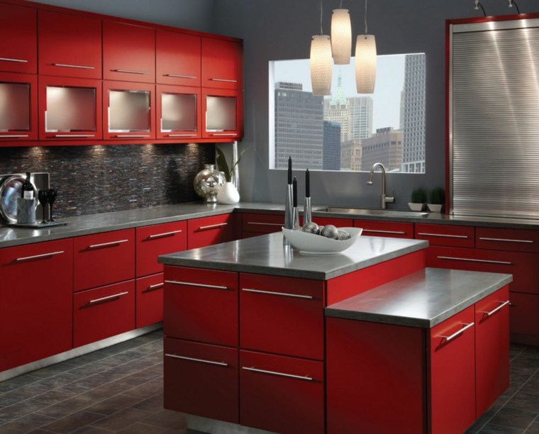 la cuisine rouge et grise
