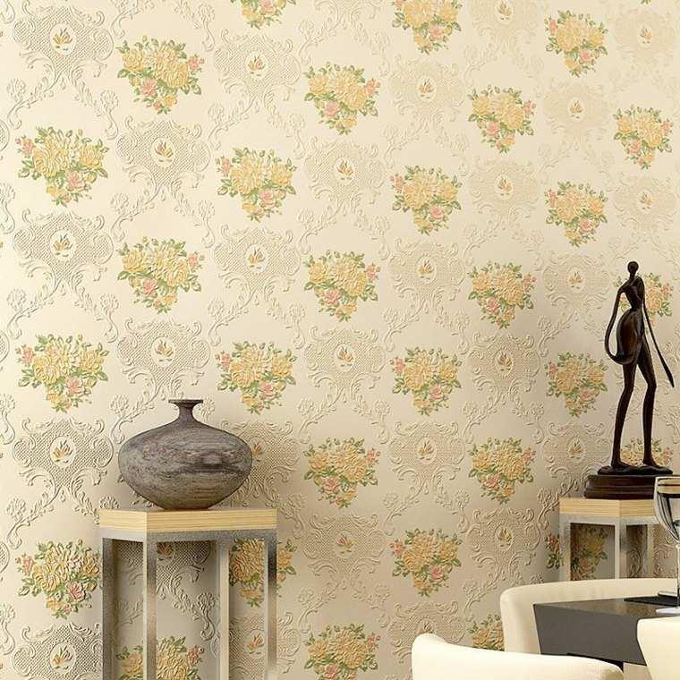 papier peint vintage a motifs floraux