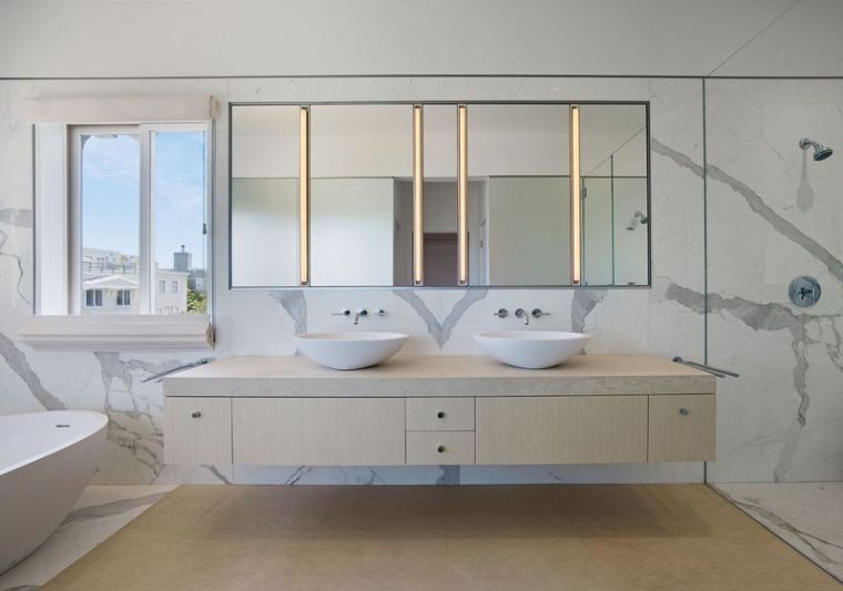 carrelage salle de bain marbre blanc en