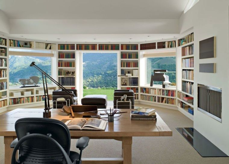 bibliotheque sur mesure etagere blanche idee decoration bureau espace de travai