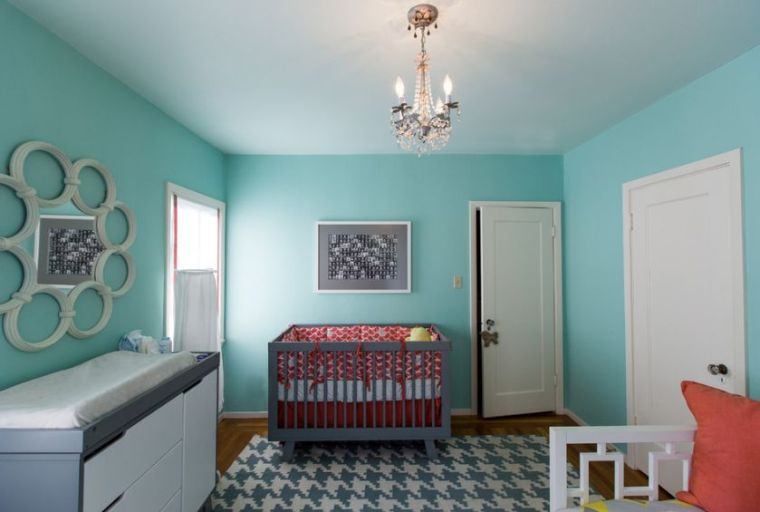 chambre bebe bleu canard deco