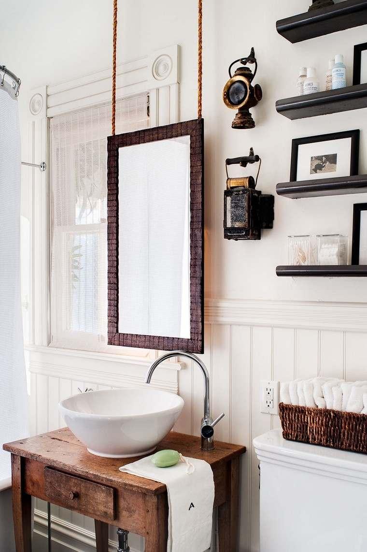 salle de bain scandinave bois miroir salle bain idees