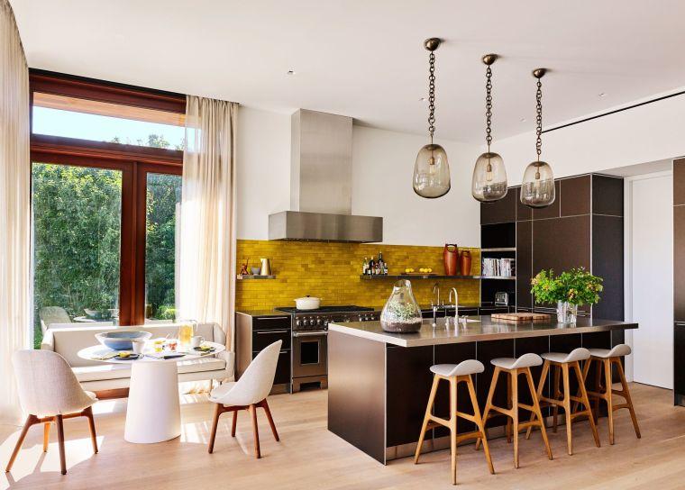 modele de cuisine moderne decoration scandinave coin repas credence jaune