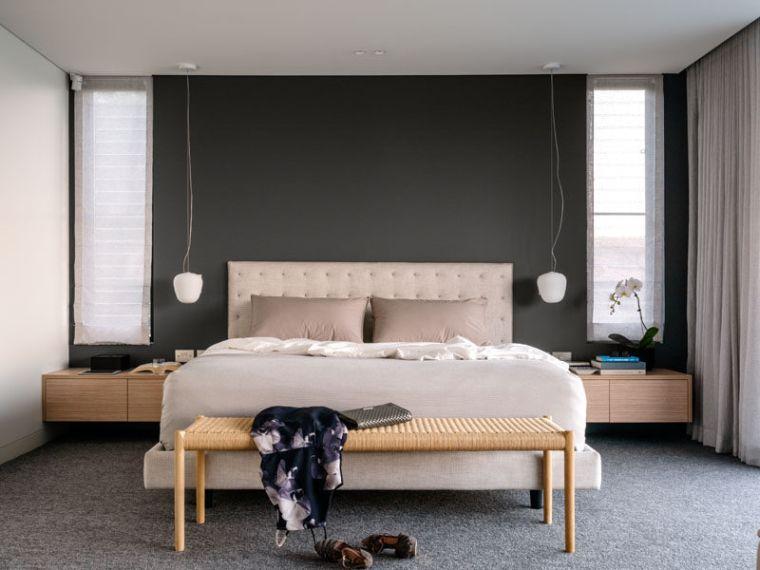 suite parentale design moderne peinture murale grise meuble bois