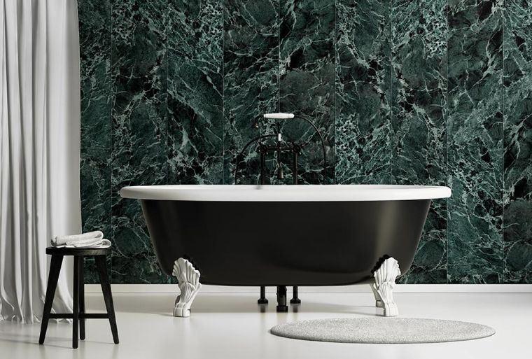 la deco salle de bain marbre vert c