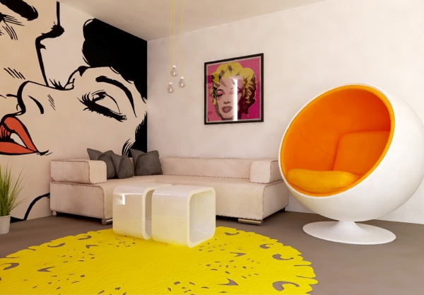 Le Pop Art Est Une Ide Dco Salon Colore Et Vive